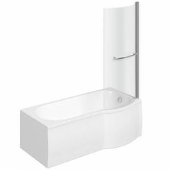 Evesham right handed P shaped shower bath 1500mm with 6mm shower screen and rail