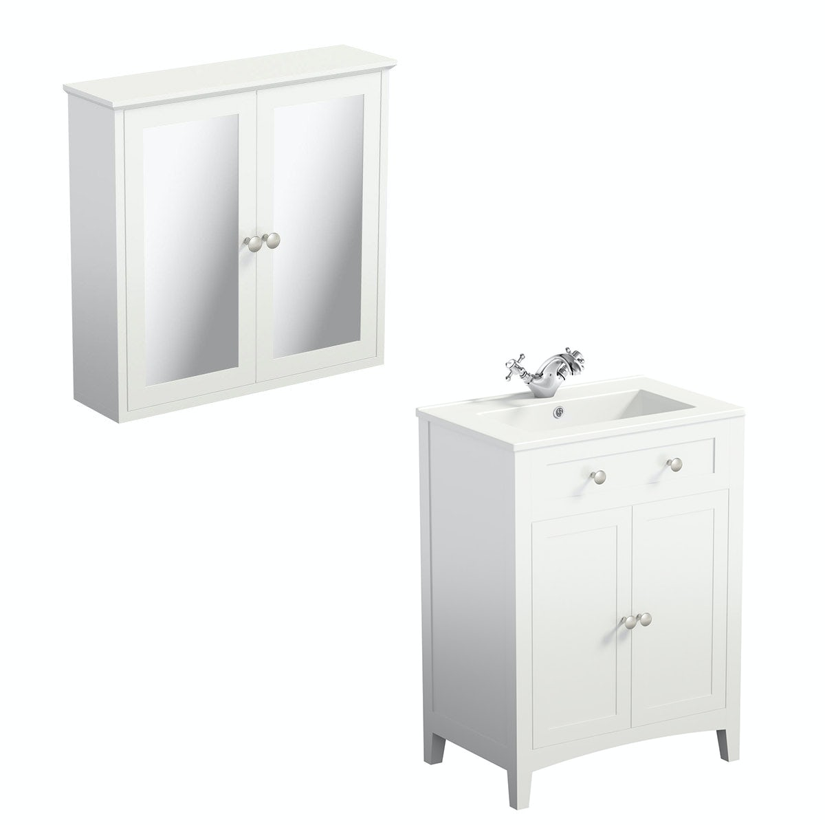The Bath Co. Camberley white vanity unit 600mm and mirror cabinet offer