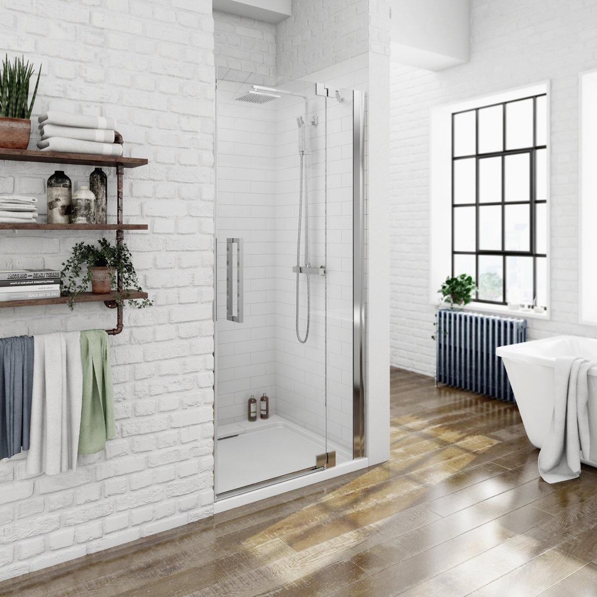 Mode luxury 8mm right handed frameless hinged shower door 760mm