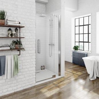 Luxury 8mm right handed frameless hinged shower door