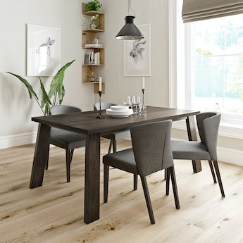 Lincoln walnut dining table with 4 x Hudson grey dining chairs