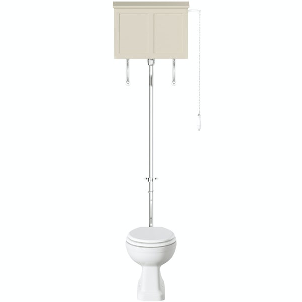 The Bath Co. Camberley high level toilet with satin ivory toilet box and white seat