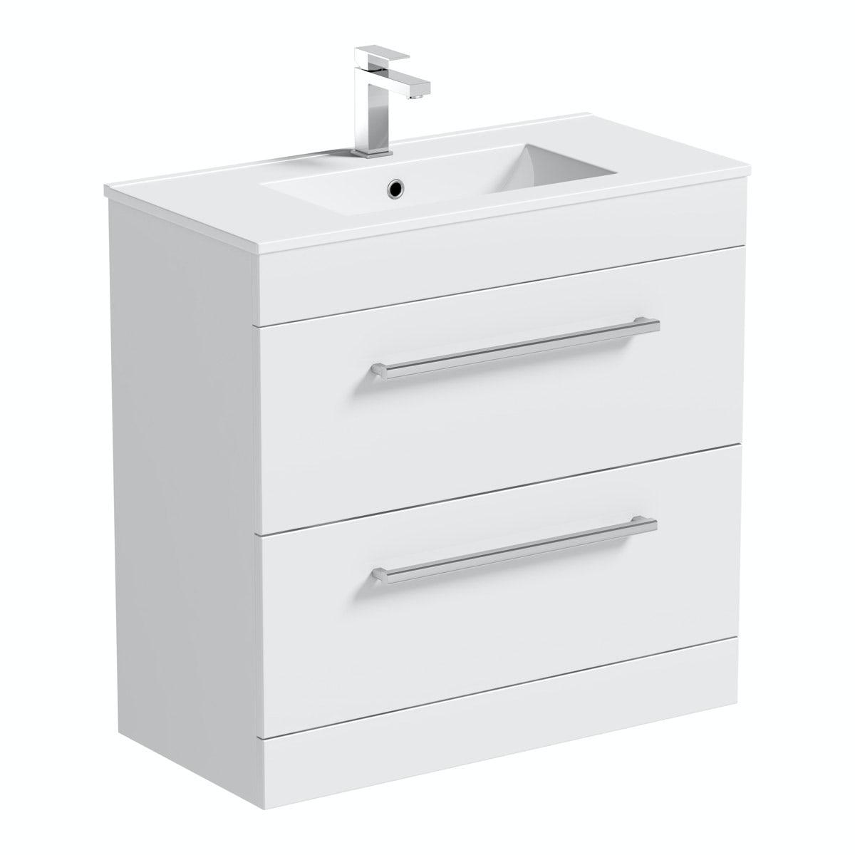 Orchard Derwent white vanity drawer unit and basin 800mm