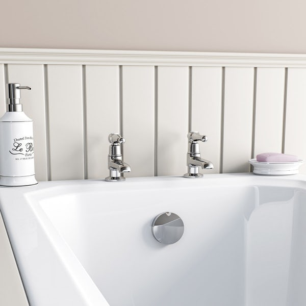 The Bath Co. Camberley lever basin pillar taps offer pack