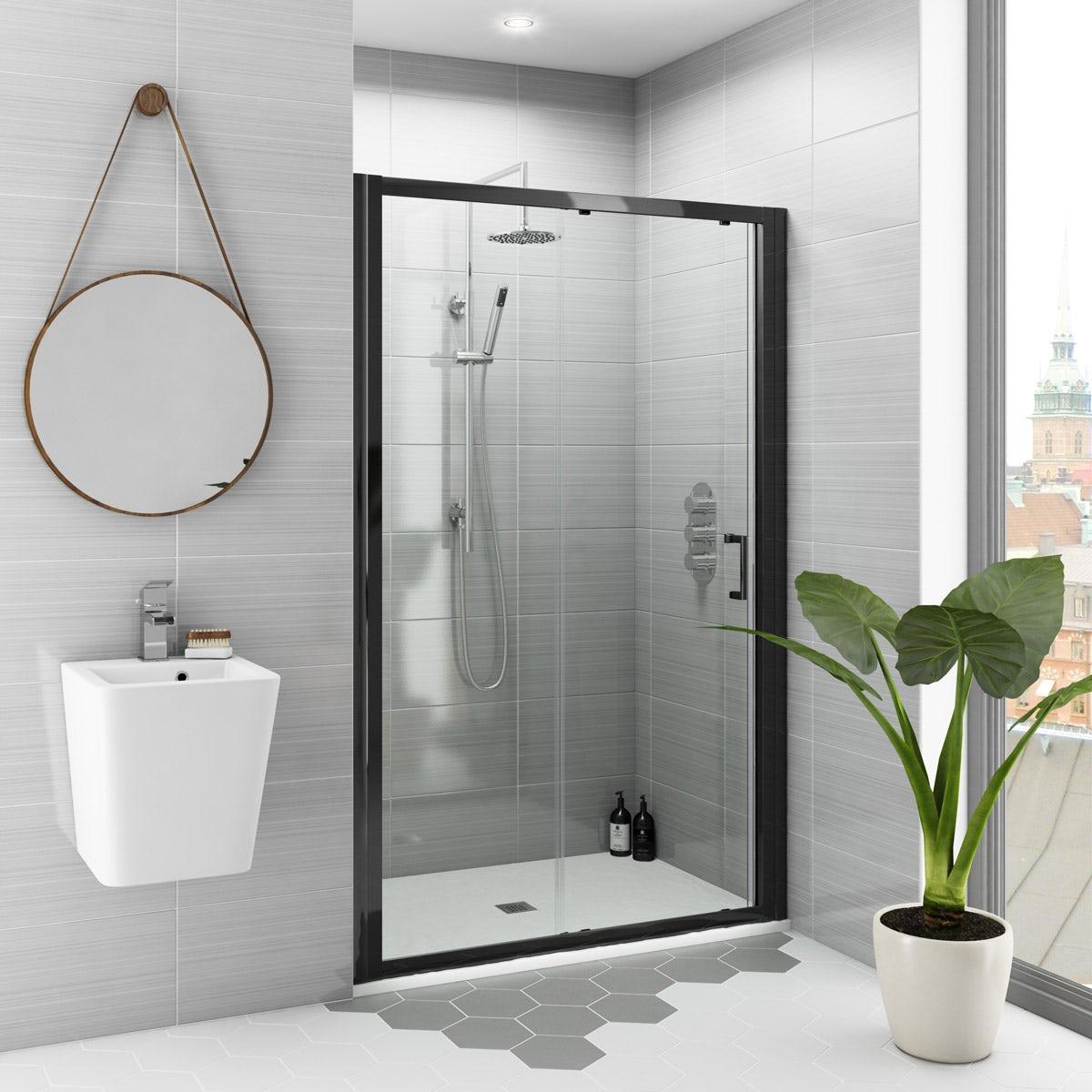 Mode Black 6mm Sliding Shower Door With White Slate Effect