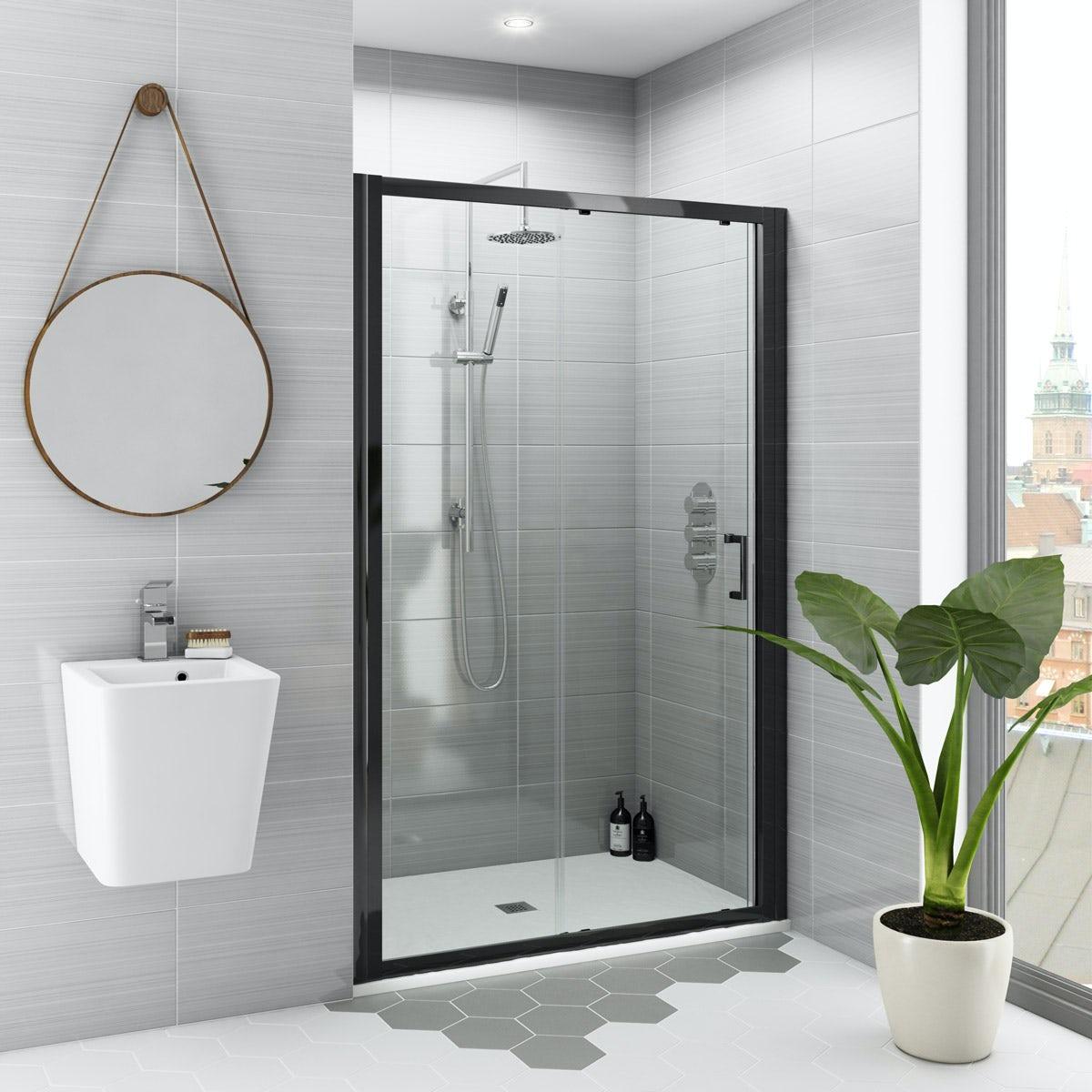 Mode Black 6mm Sliding Shower Door With White Slate Effect Tray 1200 X 800 Victoriaplum Com