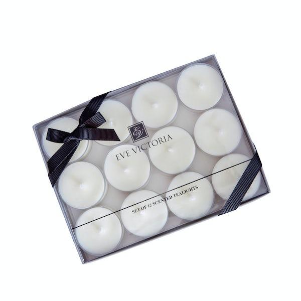 Eve Victoria Oud & bergamot box of 12 tea lights