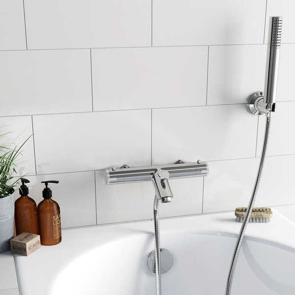 Wall or deck mount thermostatic bath shower mixer tap