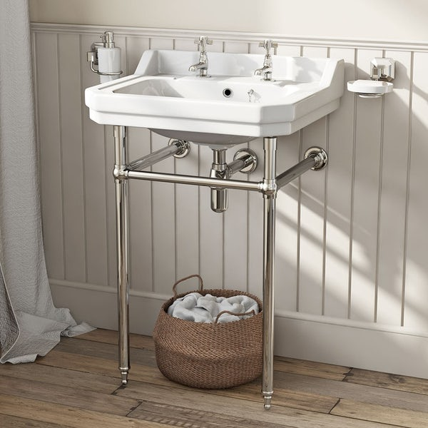 The Bath Co. Camberley cloakroom suite with white seat and washstand with basin