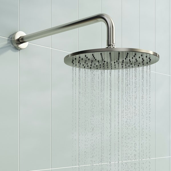 Mode Square round thermostatic twin valve brushed nickel shower set
