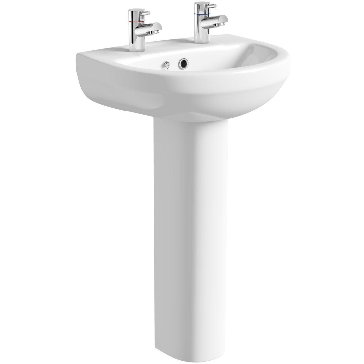 Orchard Wharfe 2 tap hole full pedestal basin
