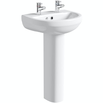Oakley 2 tap hole full pedestal basin