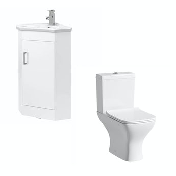 White cloakroom corner unit with Compact Square toilet
