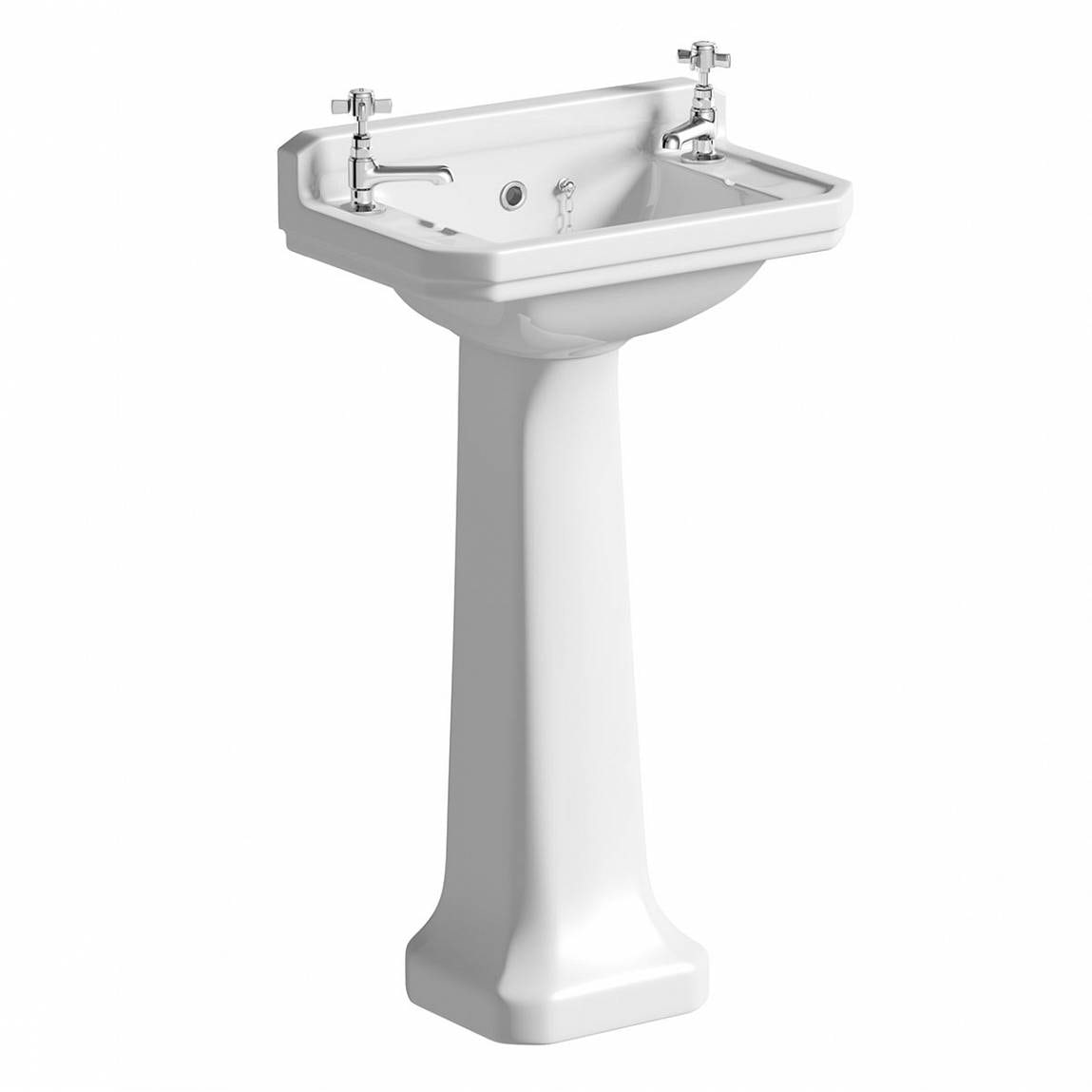 The Bath Co. Camberley 2 tap hole full pedestal basin 500mm with waste