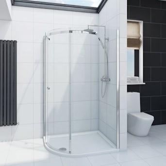 Infiniti 8mm One Door Offset Quadrant Shower Enclosure 900 x 760 LH