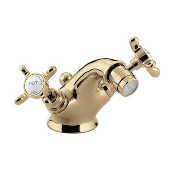 Bristan 1901 gold bidet mixer tap with waste