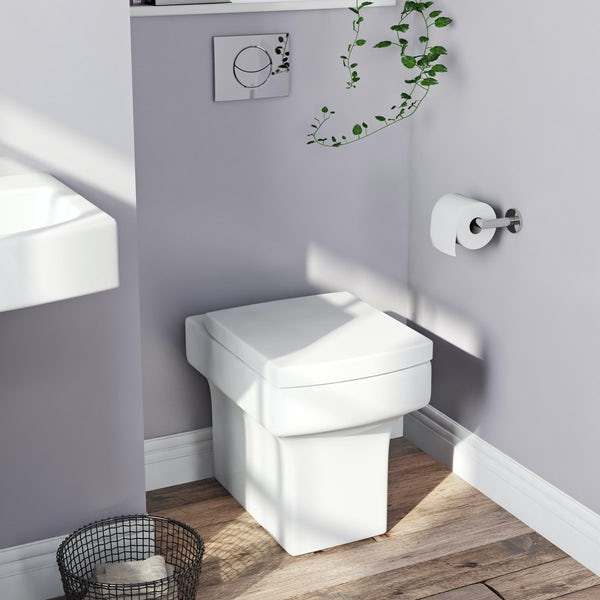 Orchard Wye back to wall cloakroom suite with wall hung basin 555mm
