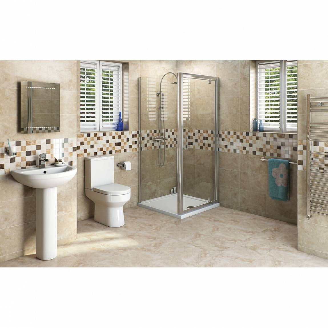 OrchardWharfebathroom suite with square enclosure and tray