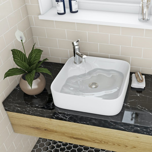 Mode Hughes square thin edge basin with 1 tap hole 430mm