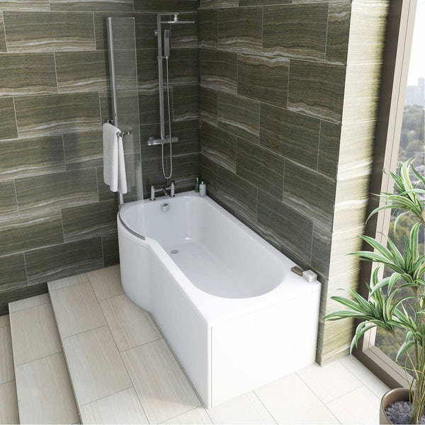 Mode Tate bathroom suite with left handed P shaped shower bath
