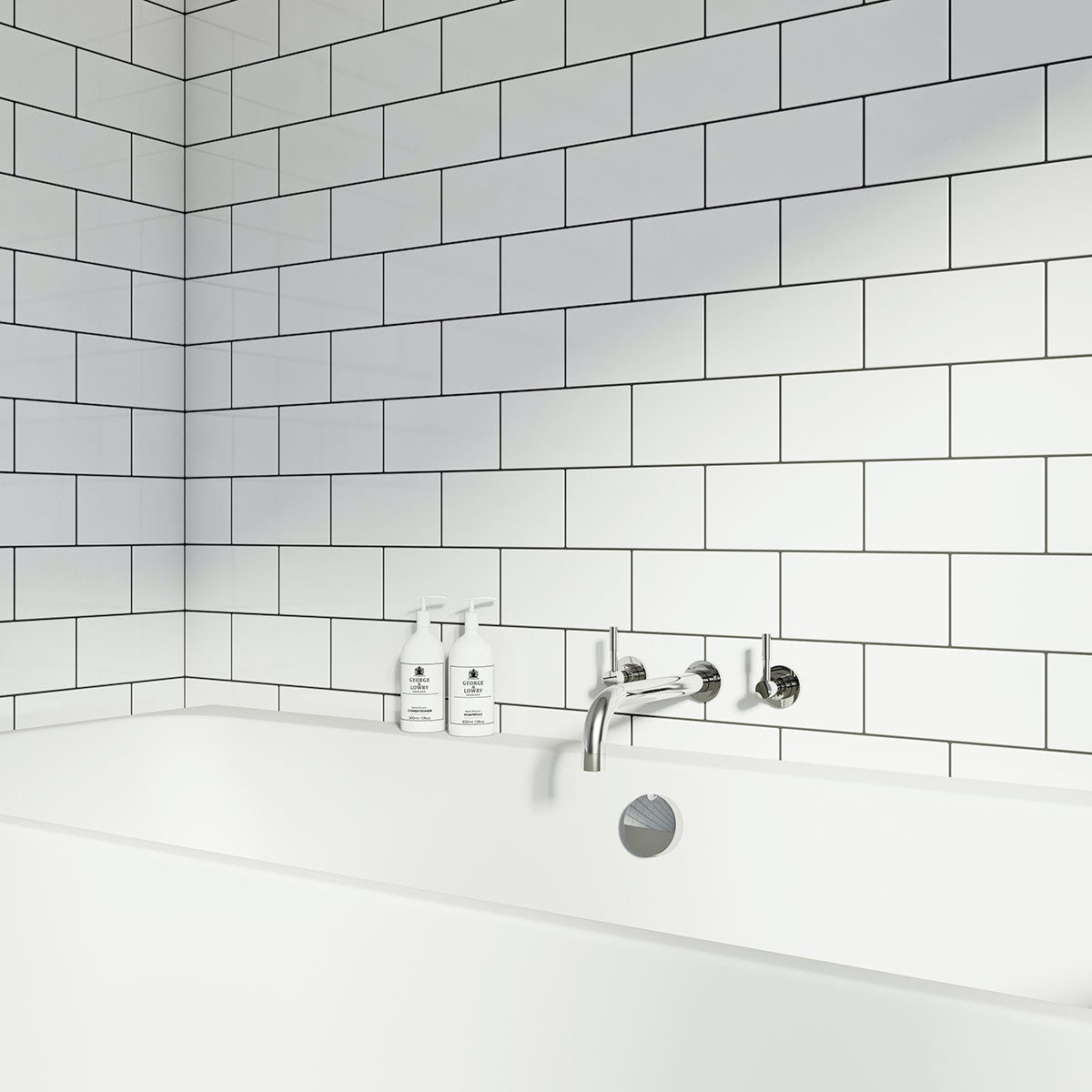 British Ceramic Tile Metro Flat White Gloss Tile 100mm X