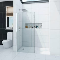 8mm wet room glass panel 700 with 300 return panel
