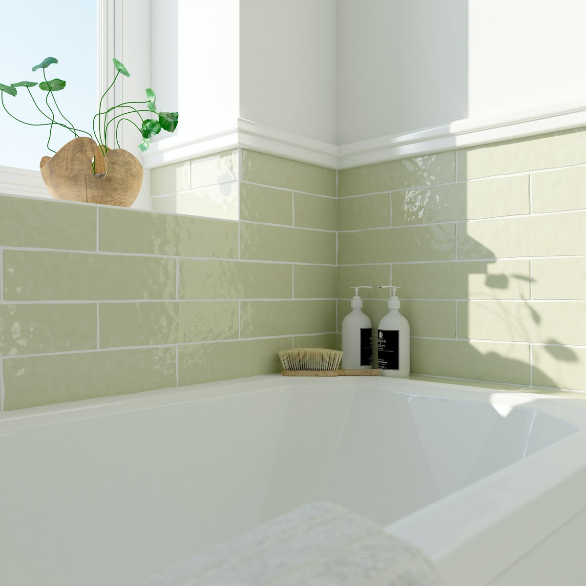 Laura Ashley Artisan willow green gloss wall tile 75mm x 300mm