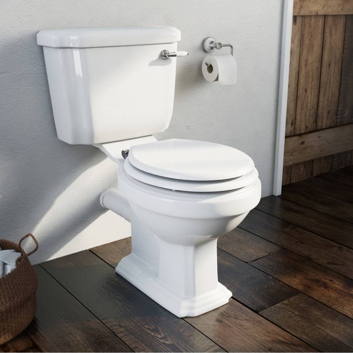 Close Coupled Toilet With Soft Close Wooden Toilet Seat White - Soft close wooden toilet seat