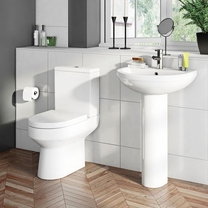 Orchard Wharfe cloakroom suite with full pedestal basin 500mm with tap and waste Back to product list Clone product