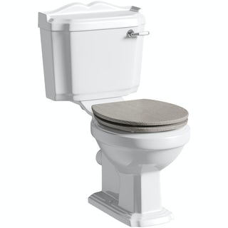 The Bath Co. Winchester close coupled toilet with soft close wooden toilet seat grey oak
