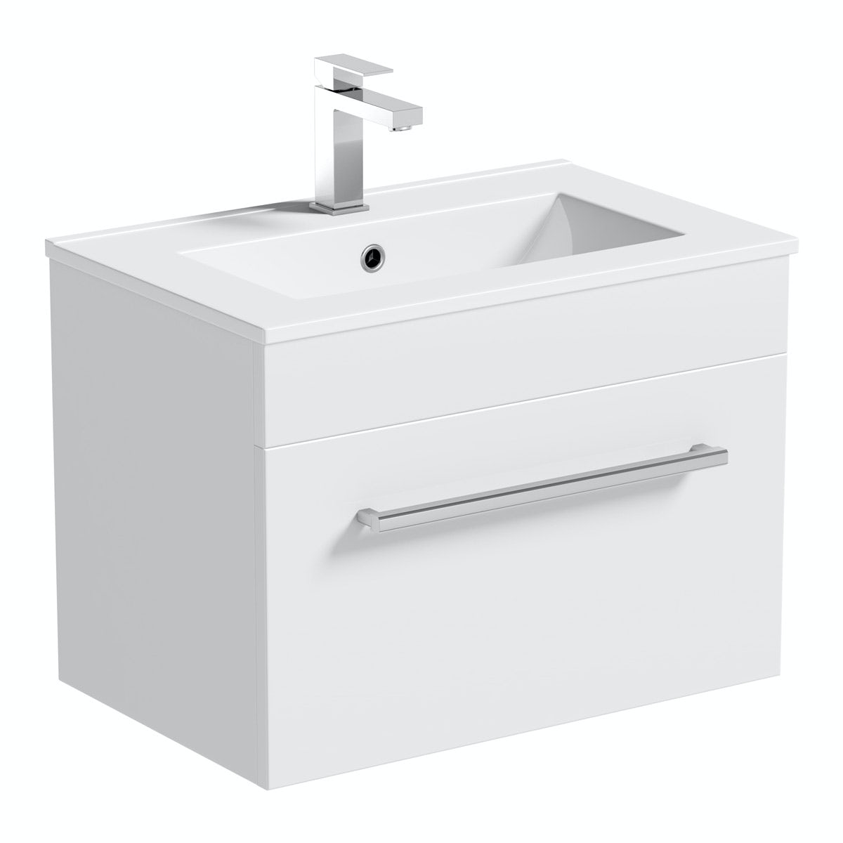 Orchard Derwent white wall hung vanity drawer unit and basin 600mm