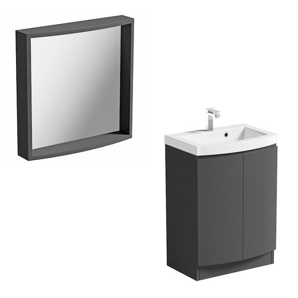 ModeHarrisonslate floor standing door unit and basin 600mm with mirror