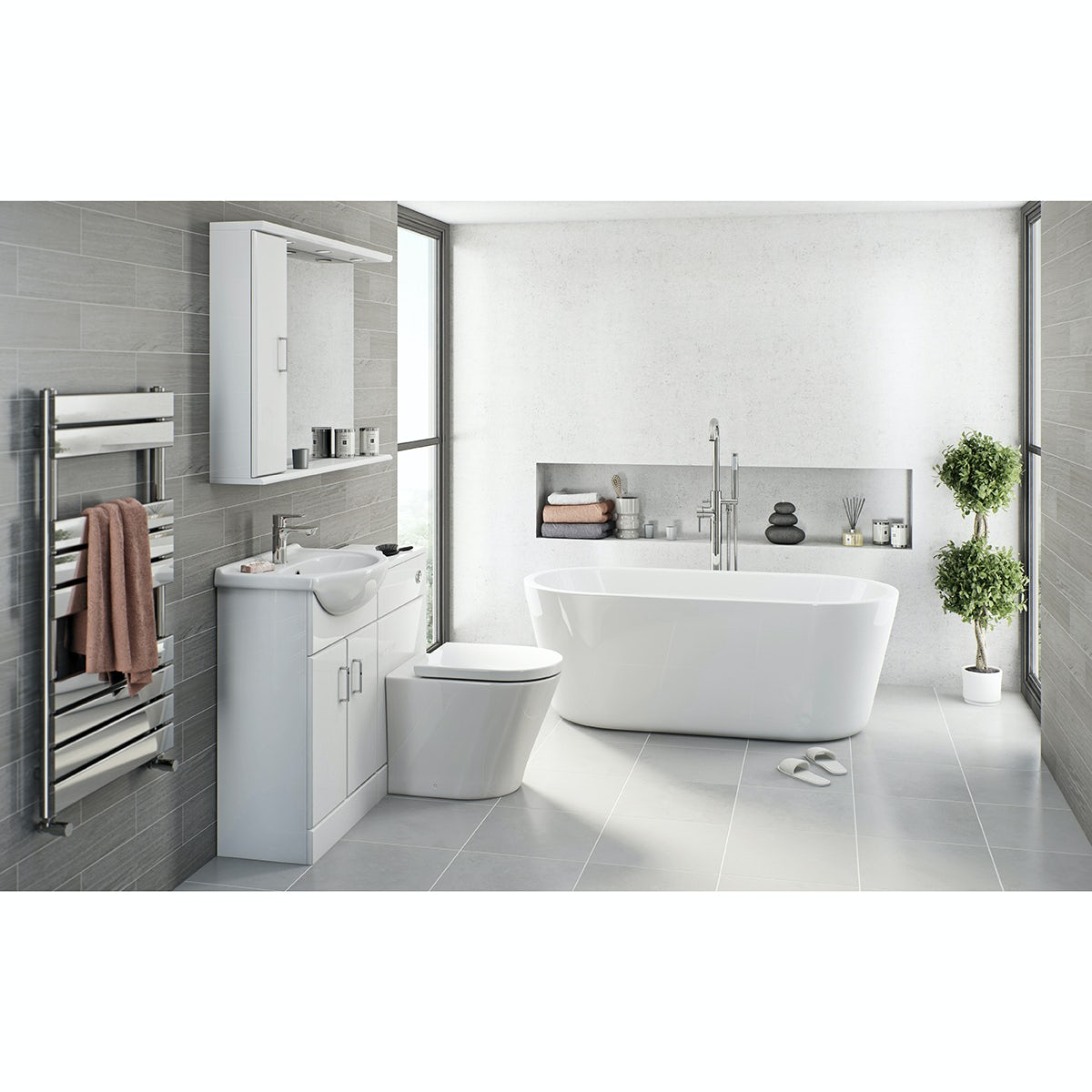 Orchard Eden white bathroom suite with contemporary freestanding bath