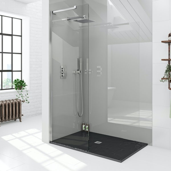 Mode black slate effect rectangle stone shower tray