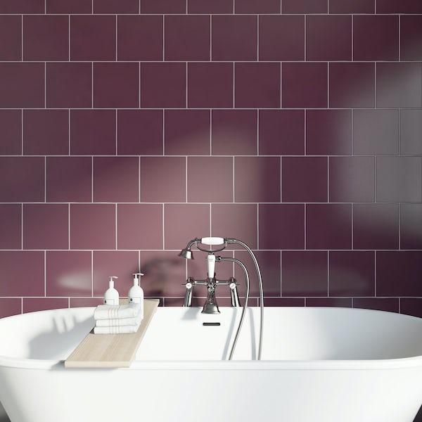 Studio Conran plain plum gloss tile 198mm x198mm