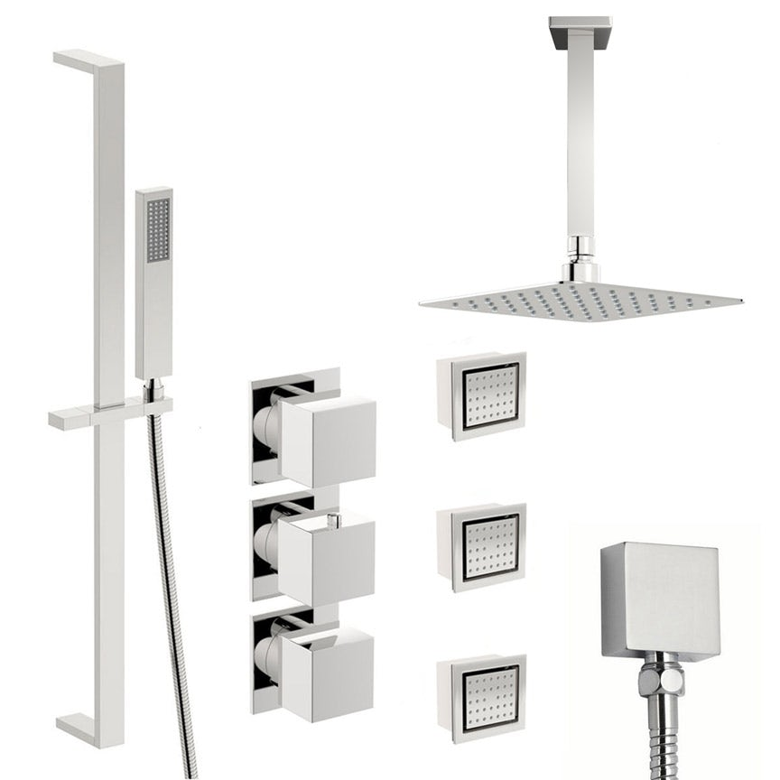 Mode Cooper thermostatic shower valve with complete ceiling shower set