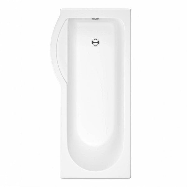 MySpace Water Saving P Shape Shower Bath Left Hand with Storage Panel & 6mm Screen