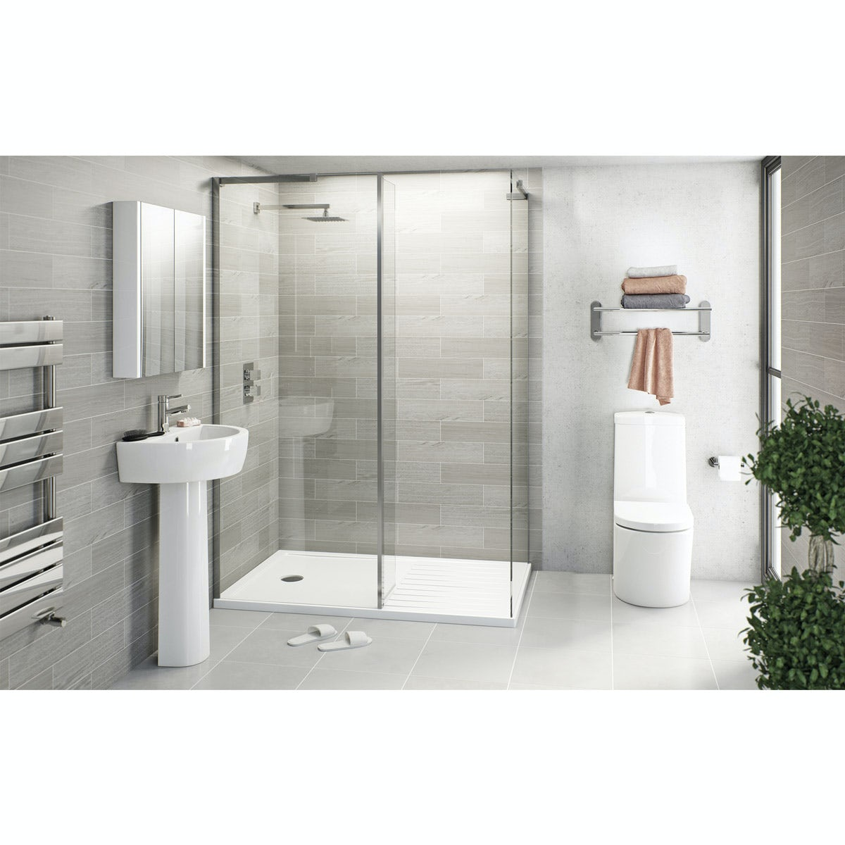Mode Tate ensuite suite with enclosure and tray 1400 x 900