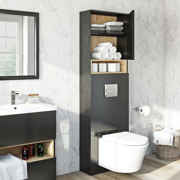 Tate anthracite & oak tall toilet unit