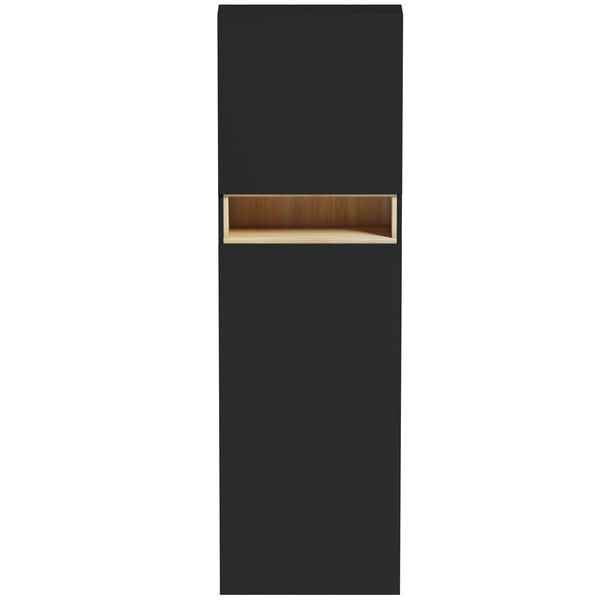 Tate Anthracite & Oak tall back to wall toilet unit