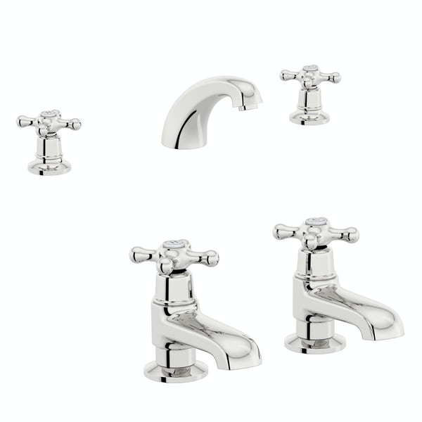 The Bath Co. Camberley 3 hole basin mixer and bath pillar tap pack