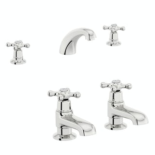 The Bath Co. Camberley 3 hole basin mixer and bath pillar tap pack