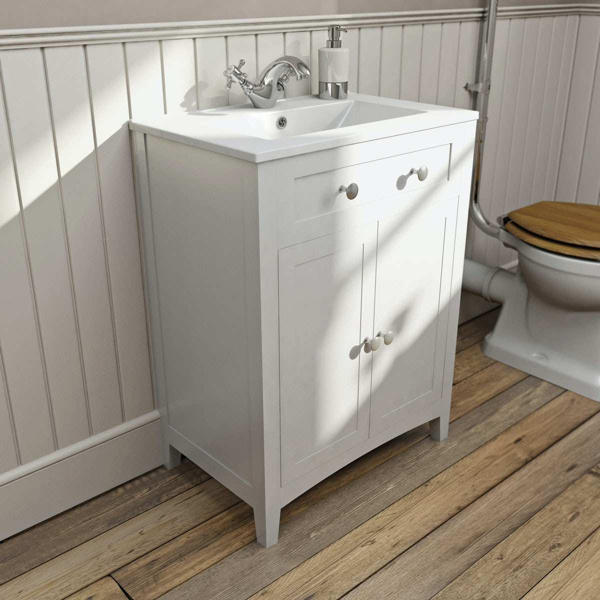 Vanity Units For Bathroom The Bath Cocamberley White Vanity Unit With Basin 600Mm