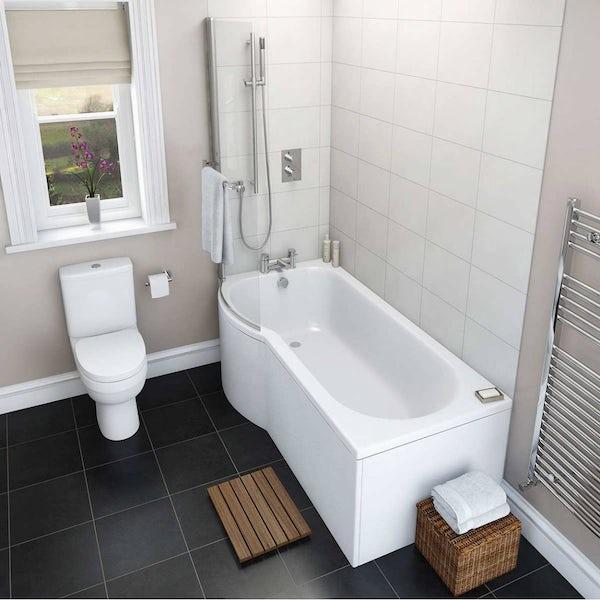 Eden bathroom suite with left handed P shaped shower bath