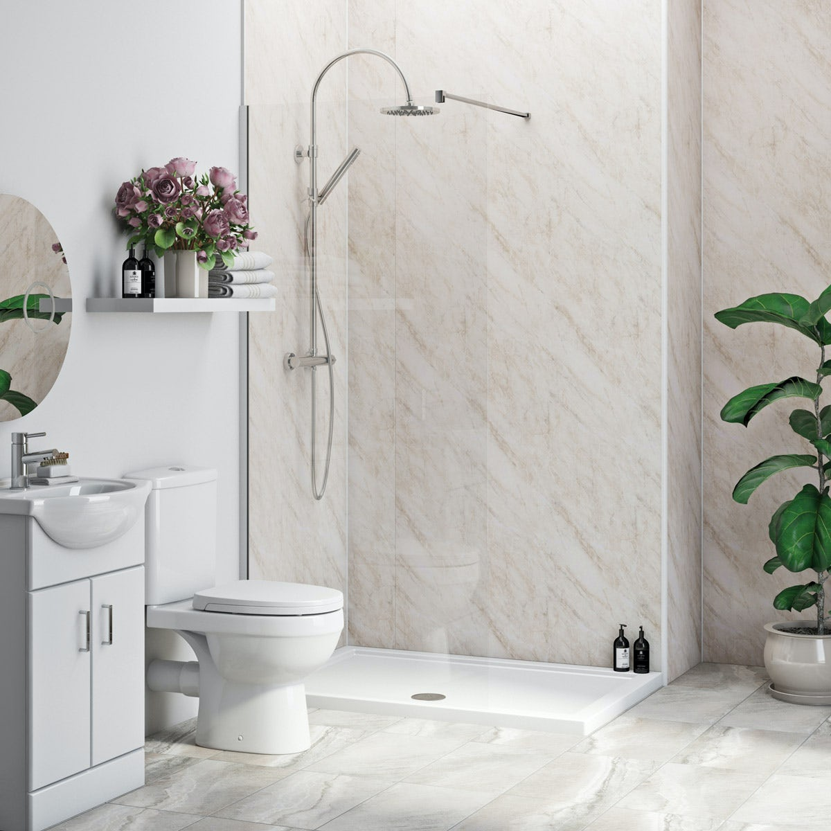 Multipanel Economy Byzantine Marble shower wall single panel 1000mm