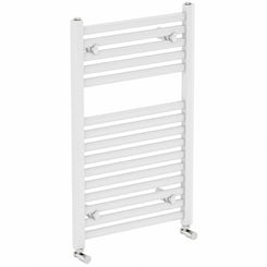 White heated towel rail 800 x 450