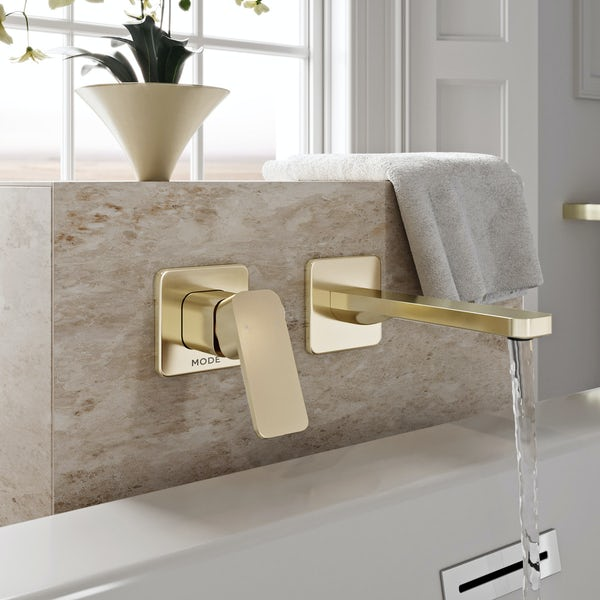 Mode Spencer square wall mounted gold bath mixer tap