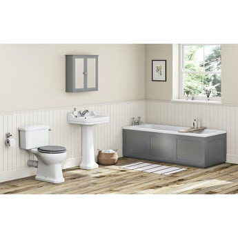 The Bath Co. Camberley grey bathroom suite with straight bath 1700 x 700