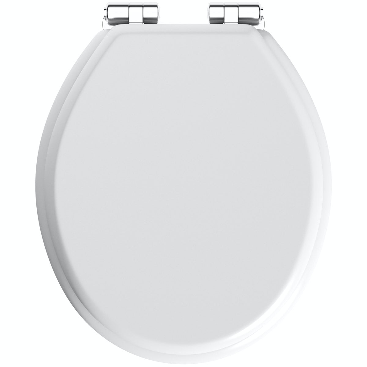 The Bath Co. traditional white engineered wood toilet seat with top fixing soft close hinge