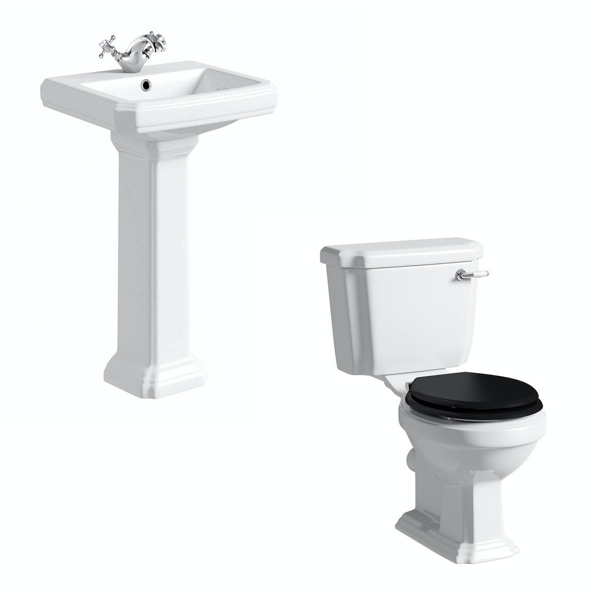 The Bath Co. Dulwich cloakroom suite with black seat and full pedestal basin 500mm